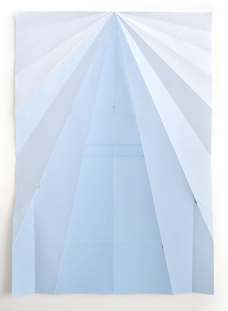 <b>Title:&nbsp;</b>Blue Paperplane<br /><b>Year:&nbsp;</b>2012<br /><b>Medium:&nbsp;</b>Unique inkjet print on folded paper<br /><b>Size:&nbsp;</b>146 x 105 cm