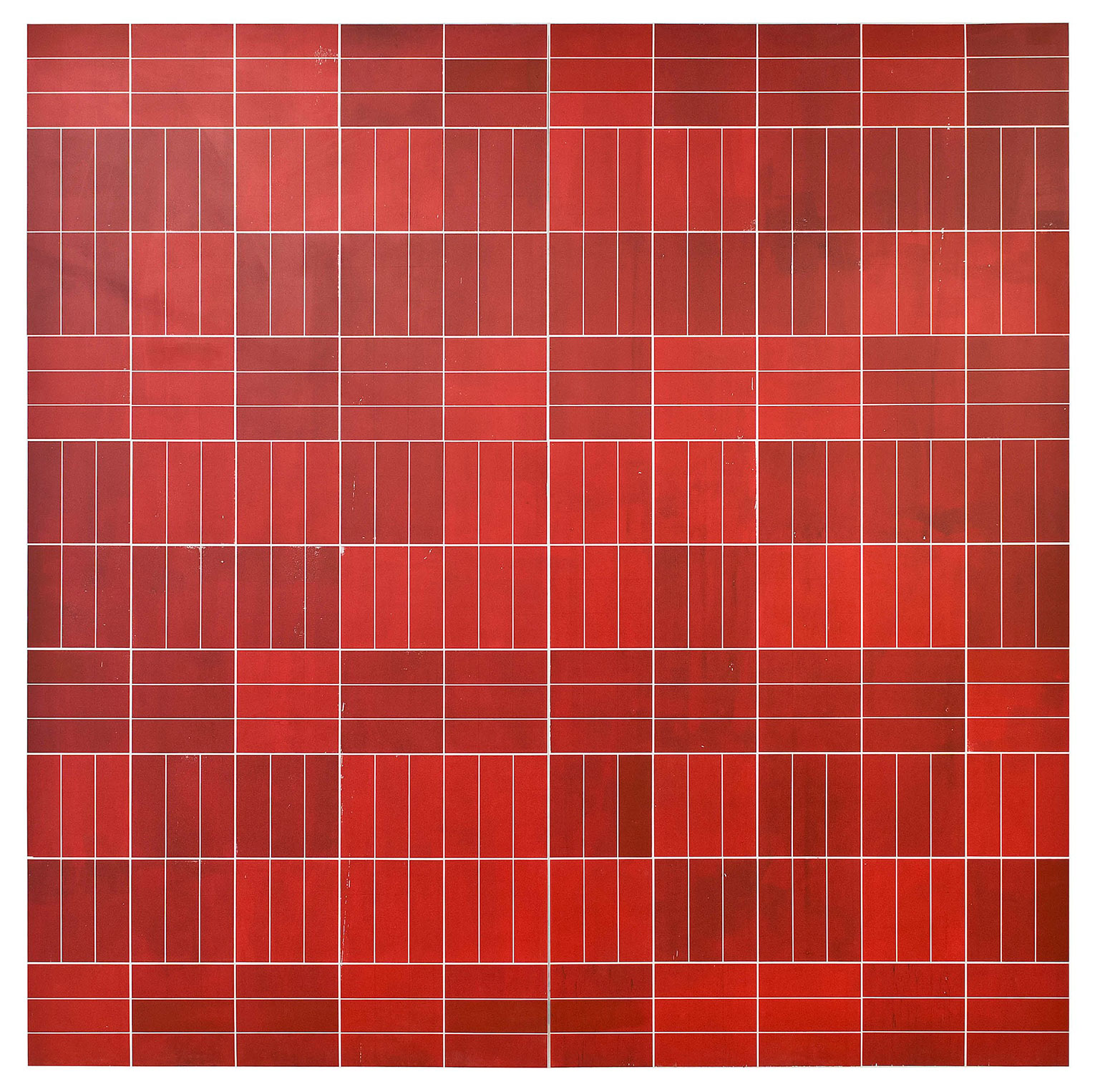 <b>Title:&nbsp;</b>Red Brick<br /><b>Year:&nbsp;</b>2013<br /><b>Medium:&nbsp;</b>Silkscreen and acrylic on wood<br /><b>Size:&nbsp;</b>244 x 244 cm
