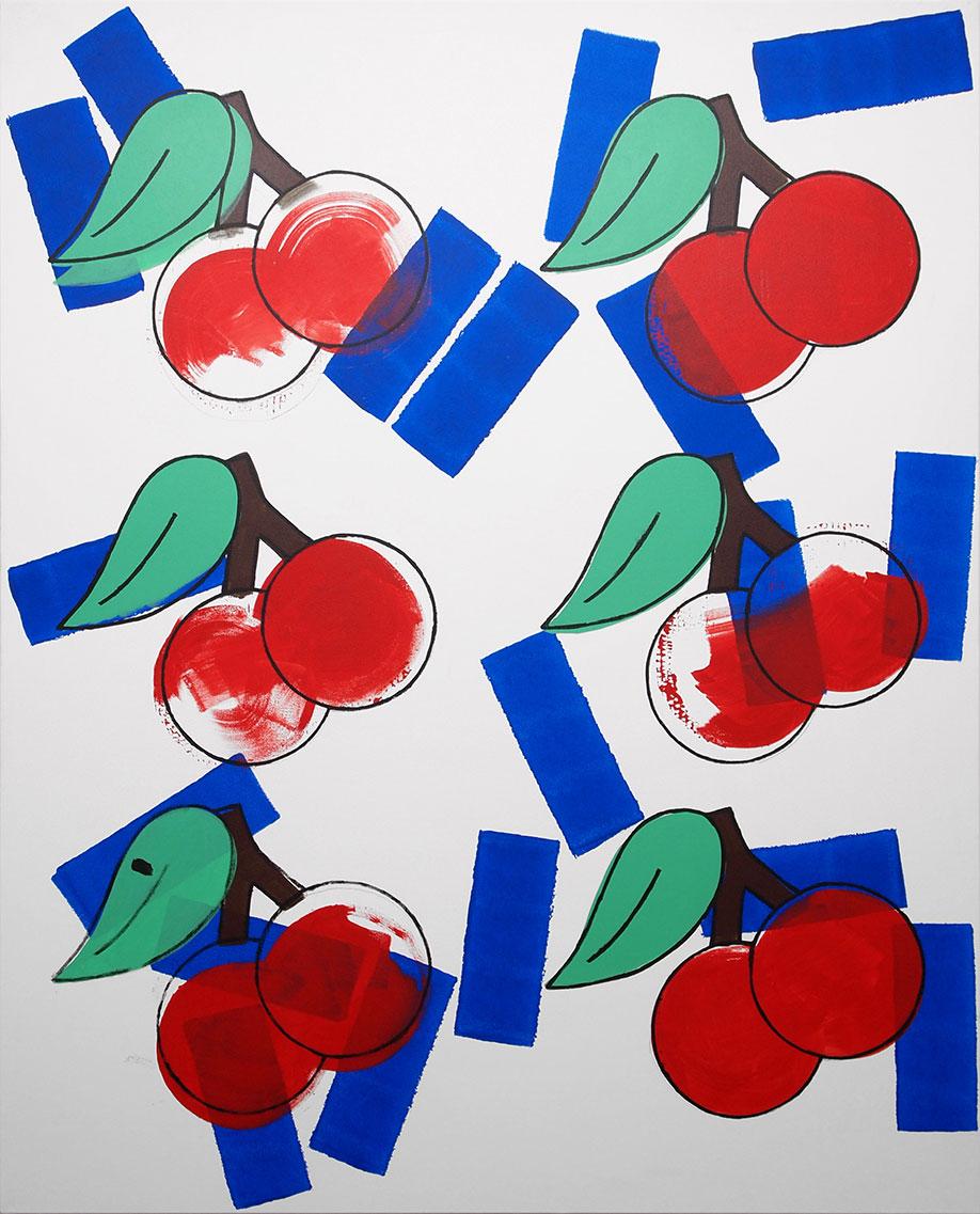 <b>Title:</b>Cherries<br /><b>Year:</b>2014<br /><b>Medium:</b>Acrylic on canvas<br /><b>Size:</b>160 x 130 cm