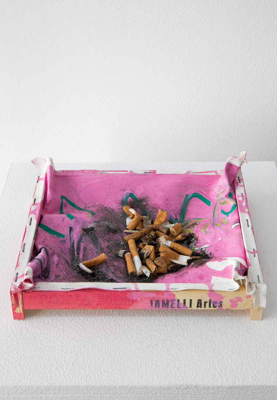 <b>Title:&nbsp;</b>Painting for a Smoker<br /><b>Year:&nbsp;</b>2013<br /><b>Medium:&nbsp;</b>Cigarettes, painting<br /><b>Size:&nbsp;</b>36 x 5 x 21 cm