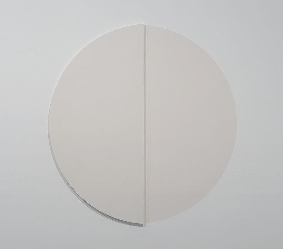 <b>Title:&nbsp;</b>White with Shadow<br /><b>Year:&nbsp;</b>2012-14<br /><b>Medium:&nbsp;</b>Chalk ground on ply panel and wall. Chalk source: Oxted quarry, Surrey, England.<br /><b>Size:&nbsp;</b>Ply wood panel: 165 x 77 cm Wall: 165 x 77 cm