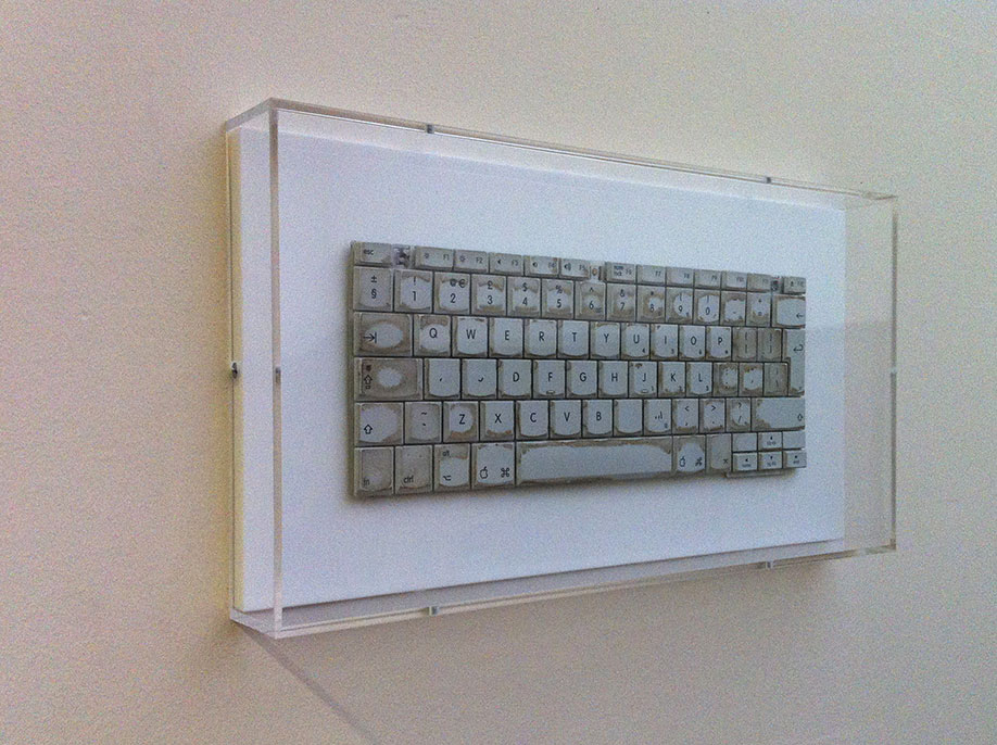 <b>Title:&nbsp;</b>Five Years of More New Blank Documents than Saves<br /><b>Year:&nbsp;</b>2010<br /><b>Medium:&nbsp;</b>iBook G4 keyboard on acrylic with perspex frame<br />