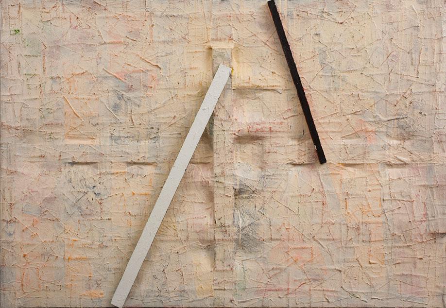 <b>Title:&nbsp;</b>Blast<br /><b>Year:&nbsp;</b>1978<br /><b>Medium:&nbsp;</b>Mixed media with oil and wood on treated canvas<br /><b>Size:&nbsp;</b>106.7 x 153.7 x 10.8 cm, Image courtesy of Austin/Desmond Fine Art