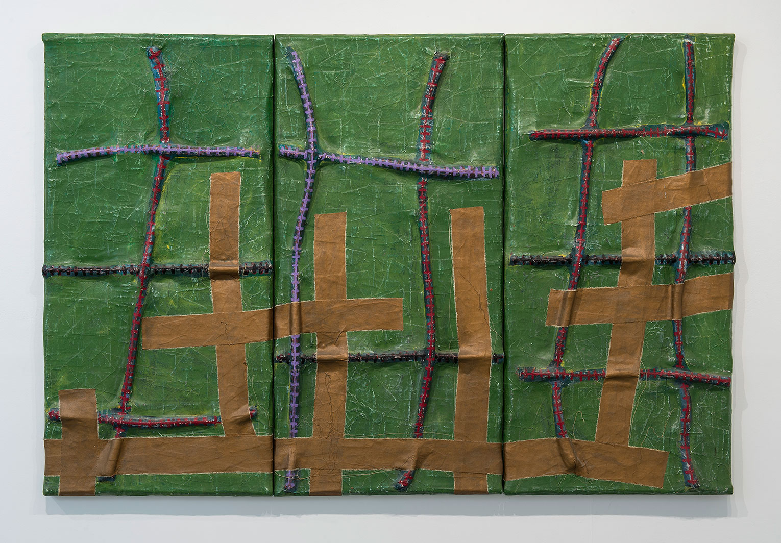 <b>Title:&nbsp;</b>Lacroix<br /><b>Year:&nbsp;</b>1992<br /><b>Medium:&nbsp;</b>Acrylic with cotton rope on stretched canvas<br /><b>Size:&nbsp;</b>152 x 230 x 9 cm