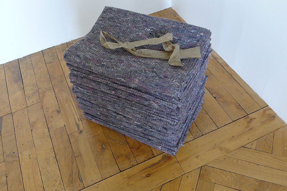 <b>Title:&nbsp;</b>Untitled (Cargo Blankets and Packing Tape)<br /><b>Year:&nbsp;</b>2011<br /><b>Medium:&nbsp;</b>Cargo blankets and packing tape<br /><b>Size:&nbsp;</b>Dimensions variable