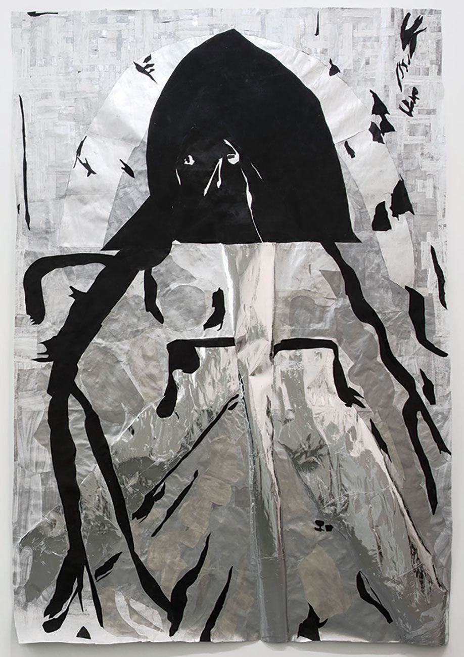 <b>Title:&nbsp;</b>Silver Druid<br /><b>Year:&nbsp;</b>2015<br /><b>Medium:&nbsp;</b>Cut paper, gouache, acrylic, and oil stick on paper<br /><b>Size:&nbsp;</b>225 x 153 cm