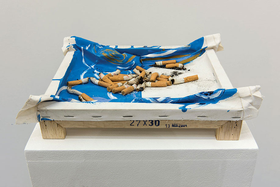 <b>Title:&nbsp;</b>Ashtray<br /><b>Year:&nbsp;</b>2004-2013<br /><b>Medium:&nbsp;</b>Cigarettes, matches, painting<br /><b>Size:&nbsp;</b>7.5 x 26 x 32 cm