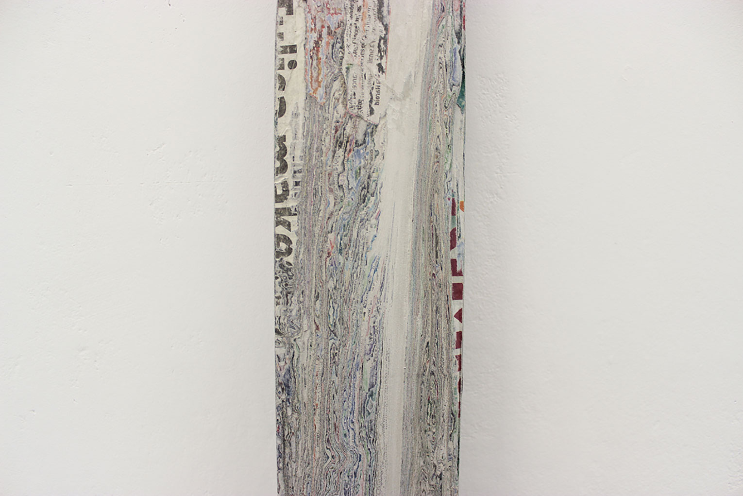 <b>Title:&nbsp;</b>Plank (detail)<br /><b>Year:&nbsp;</b>2013<br /><b>Medium:&nbsp;</b>Newspaper and PVA<br /><b>Size:&nbsp;</b>175 x 9 x 2 cm