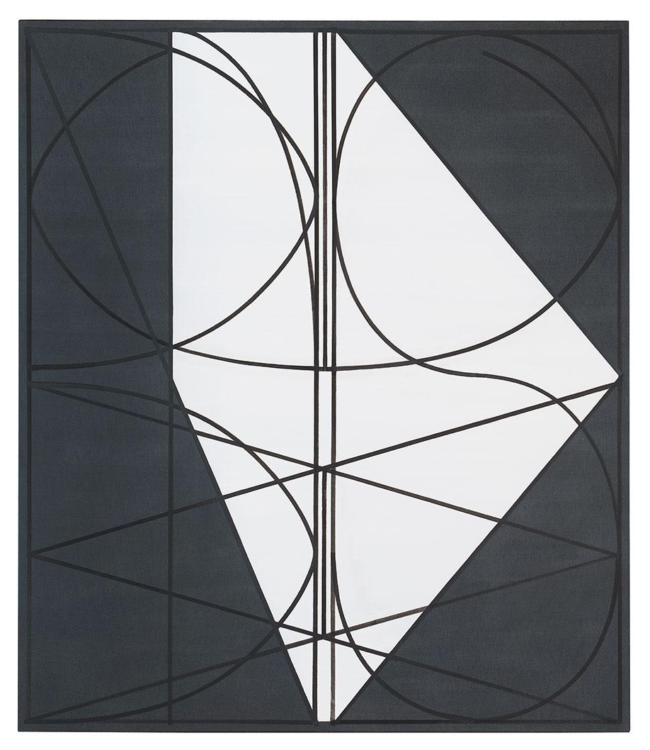 <b>Title:&nbsp;</b>Black Jeans (White Hexagon)<br /><b>Year:&nbsp;</b>2013<br /><b>Medium:&nbsp;</b>Oil on denim<br /><b>Size:&nbsp;</b>140 x 120 cm