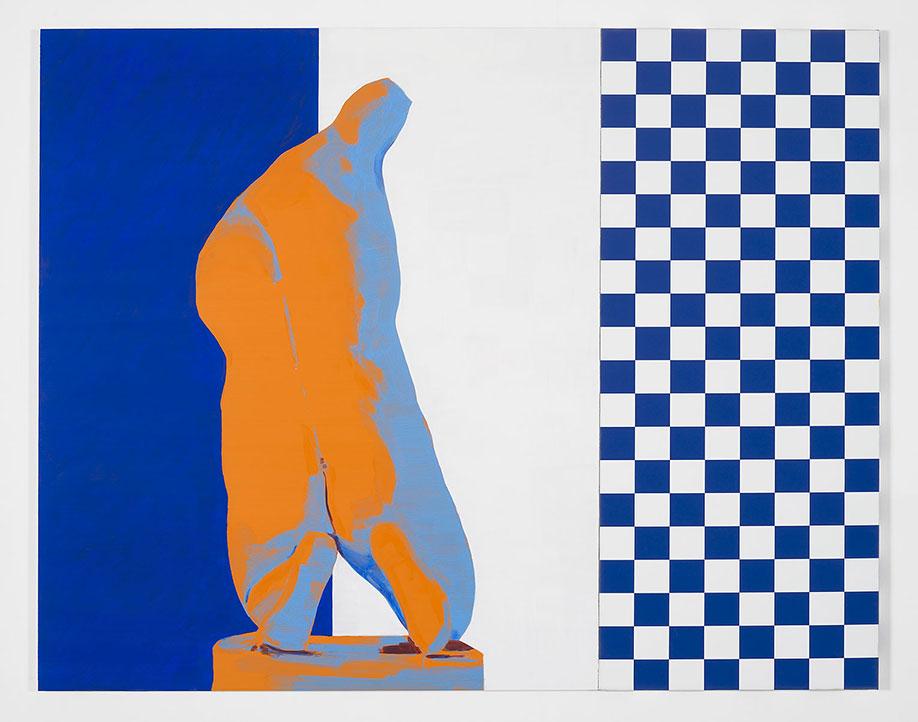 <b>Title:&nbsp;</b>Drag<br /><b>Year:&nbsp;</b>2012<br /><b>Medium:&nbsp;</b>Oil on anodised aluminium and digital print on canvas<br /><b>Size:&nbsp;</b>150 x 192 cm