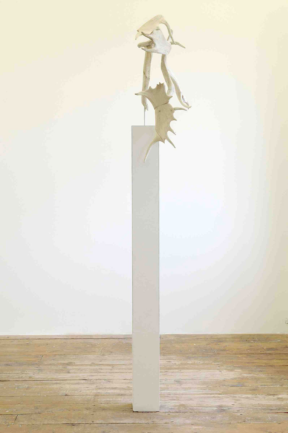 <b>Title:&nbsp;</b>Silent Heights<br /><b>Year:&nbsp;</b>2008<br /><b>Medium:&nbsp;</b>Antlers, nylon, aluminium, leather<br />