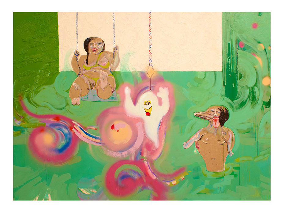 <b>Title:&nbsp;</b>Acid House Swirly-Whirly<br /><b>Year:&nbsp;</b>2013<br /><b>Medium:&nbsp;</b>Acrylic, oil, spray paint, wallpaper, synthetic hair, plastic, collage on canvas<br /><b>Size:&nbsp;</b>170 x 230 cm