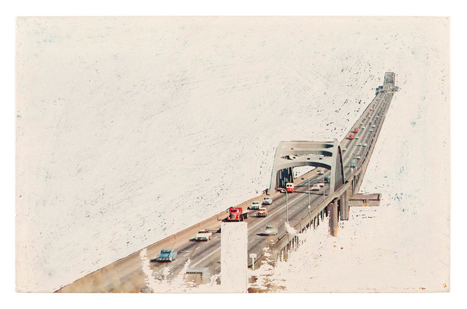 <b>Title:&nbsp;</b>Bridges, series<br /><b>Year:&nbsp;</b>2009 - ongoing<br /><b>Medium:&nbsp;</b>Sanded postcard<br /><b>Size:&nbsp;</b>9 x 15 cm
