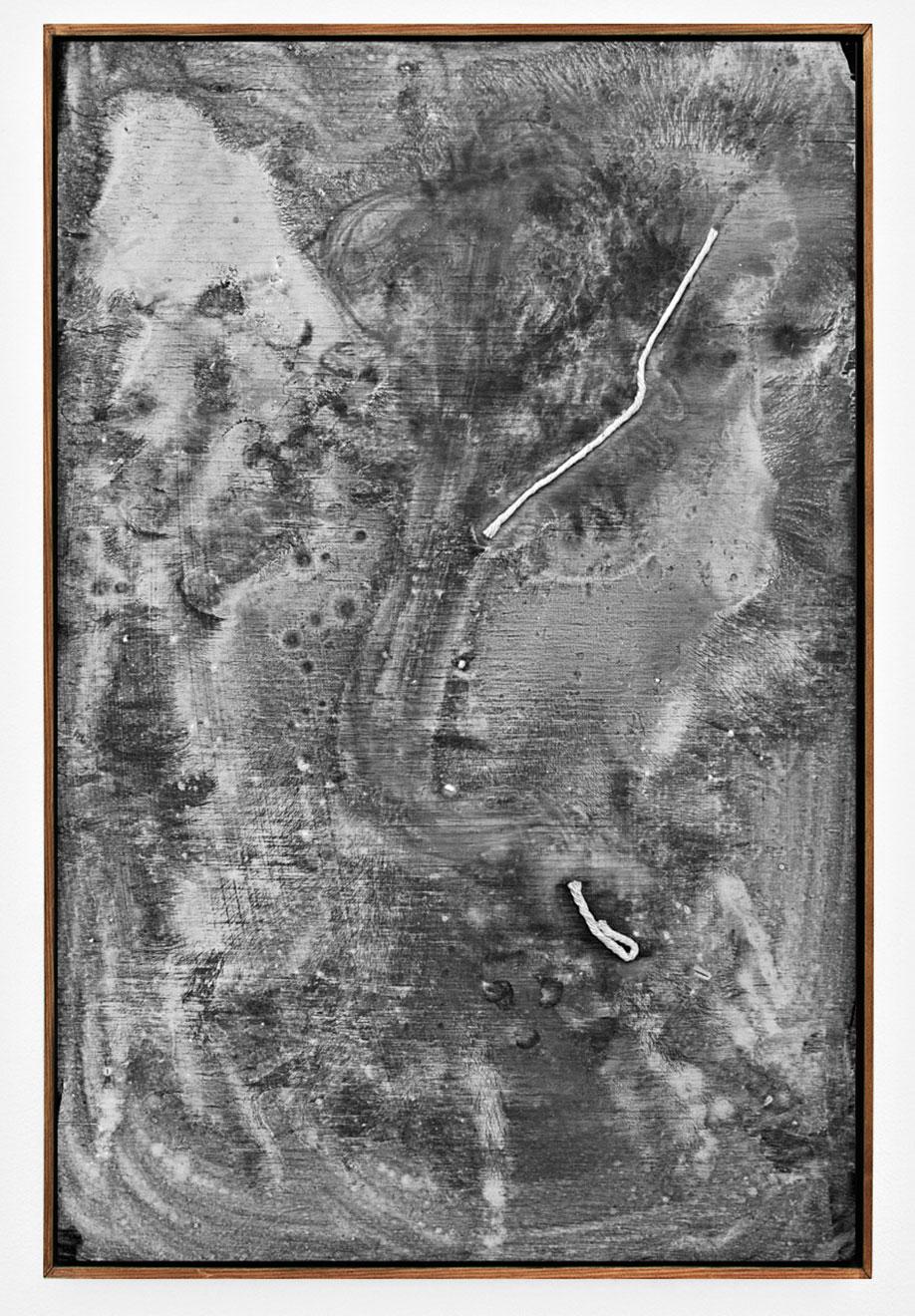 <b>Title:&nbsp;</b>Entangled Soups Cessation<br /><b>Year:&nbsp;</b>2012<br /><b>Medium:&nbsp;</b>Chalk and blackboard paint on plywood<br /><b>Size:&nbsp;</b>59 x 39 cm