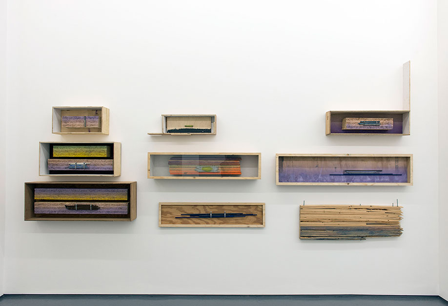 <b>Title:&nbsp;</b>Box Things 1-9<br /><b>Year:&nbsp;</b>2015<br /><b>Medium:&nbsp;</b>Wood, metal, glass, and paint<br /><b>Size:&nbsp;</b>Dimensions variable