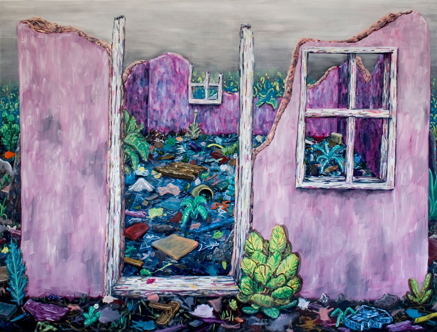 <b>Title:&nbsp;</b>Pink Ruin<br /><b>Year:&nbsp;</b>2010<br /><b>Medium:&nbsp;</b>Oil on canvas<br /><b>Size:&nbsp;</b>160 x 210 cm
