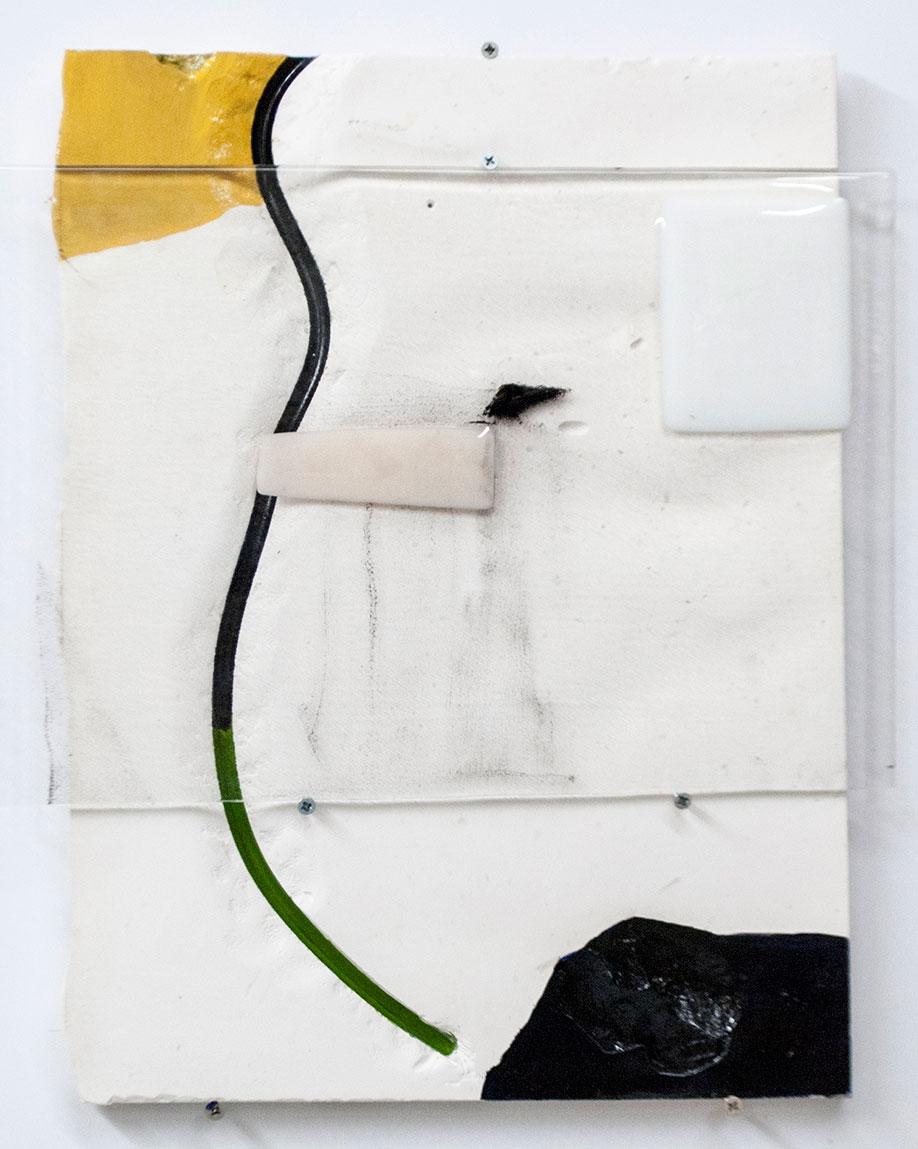 <b>Title:</b>Spring<br /><b>Year:</b>2015<br /><b>Medium:</b>Fused glass, plaster, and paint<br /><b>Size:</b>45 x 39 x 3 cm