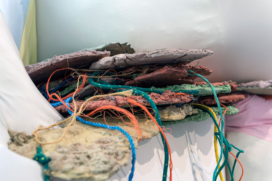 <b>Title:&nbsp;</b>Reconfiguring Landscape (Floor Piece)<br /><b>Year:&nbsp;</b>2015<br /><b>Medium:&nbsp;</b>MDF, lycra, concrete, rope, and mixed media<br /><b>Size:&nbsp;</b>Dimensions variable, 290 x 340 x 200 cm approx.