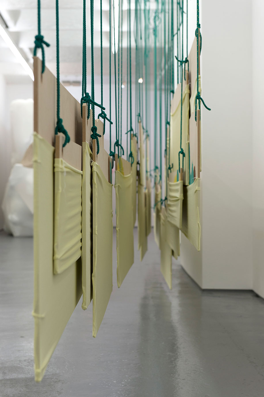 <b>Title:&nbsp;</b>Reconfiguring Landscape (Double Hanging Piece)<br /><b>Year:&nbsp;</b>2015<br /><b>Medium:&nbsp;</b>MDF, lycra, rope, and stainless steel<br /><b>Size:&nbsp;</b>Dimensions variable, 290 x 910 x 28 cm approx.