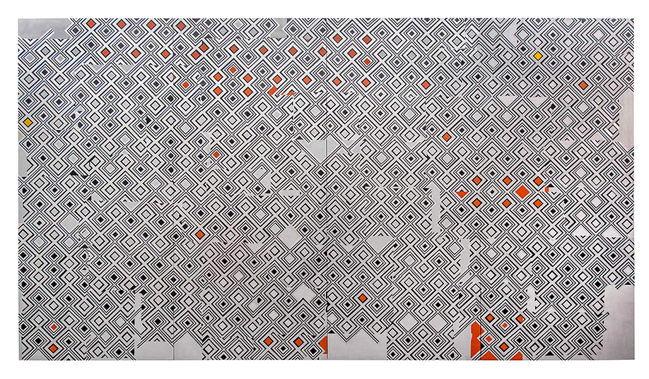 <b>Title:&nbsp;</b>Untitled<br /><b>Year:&nbsp;</b>2015<br /><b>Medium:&nbsp;</b>Spray paint, ink, aluminium tape, paper, and varnish on wood<br /><b>Size:&nbsp;</b>204 x 370 cm