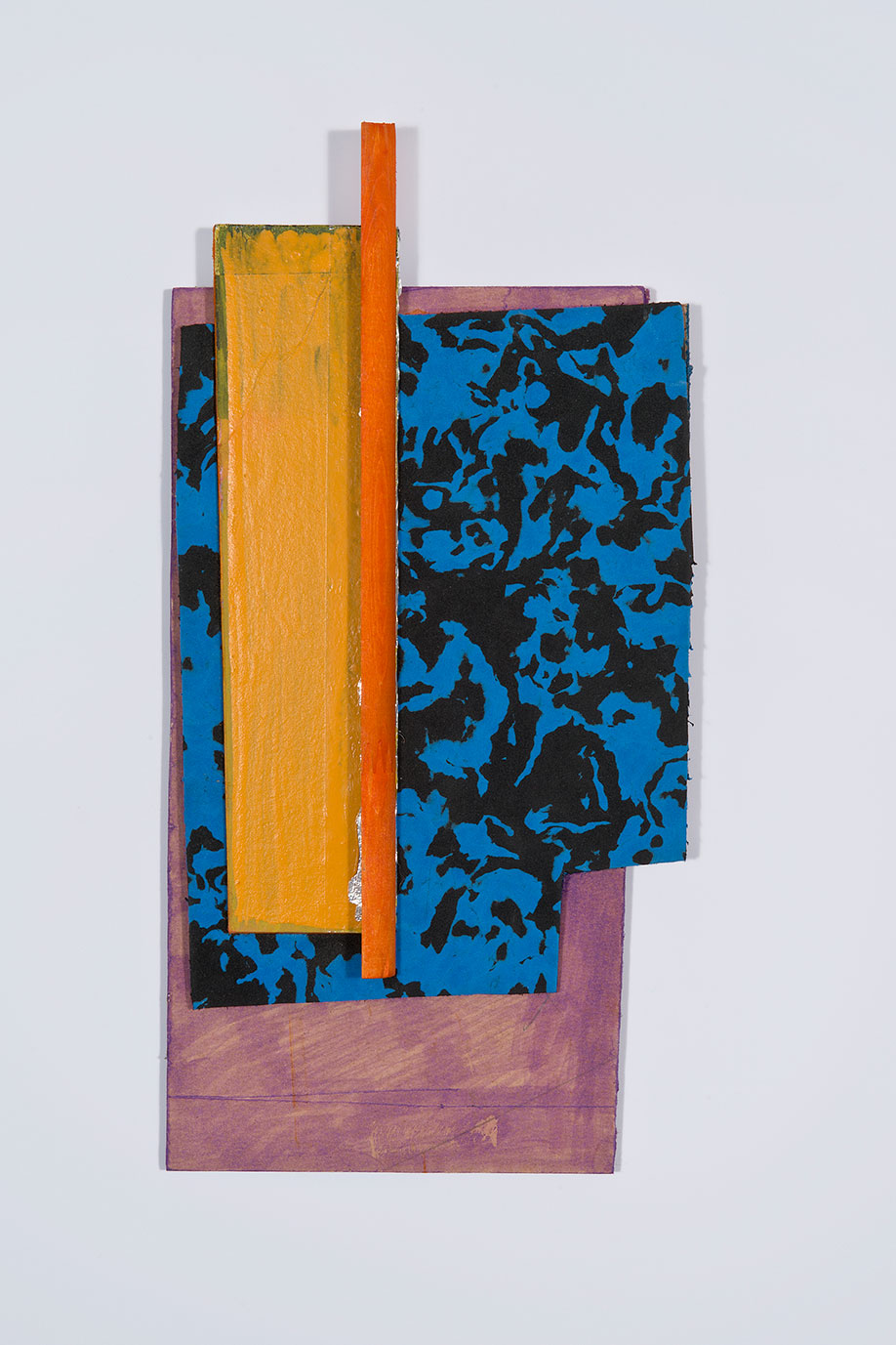 <b>Title:&nbsp;</b>Untitled<br /><b>Year:&nbsp;</b>2013<br /><b>Medium:&nbsp;</b>Ink, aluminium tape, enamel, foam, wood, and hardboard<br /><b>Size:&nbsp;</b>35 x 18 cm