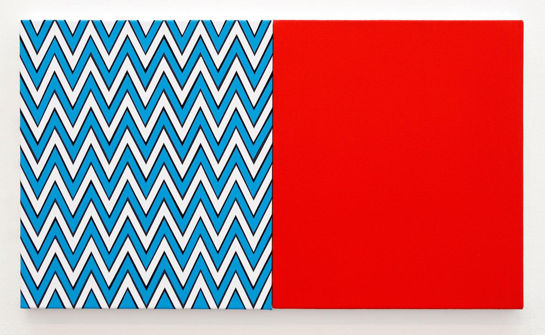 <b>Title:&nbsp;</b>Two One Two<br /><b>Year:&nbsp;</b>2014<br /><b>Medium:&nbsp;</b>Acrylic on two canvasses <br /><b>Size:&nbsp;</b>41 x 72 cm