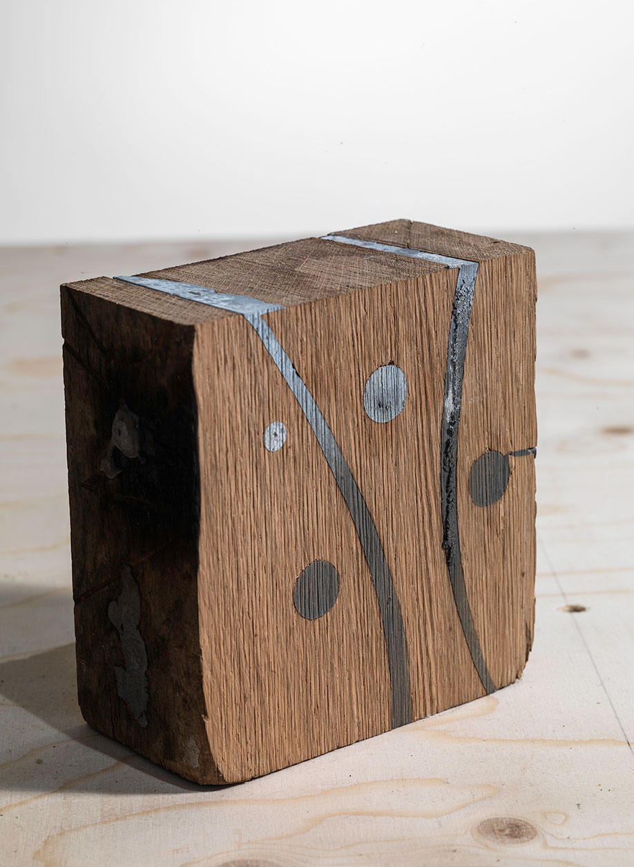 <b>Title:&nbsp;</b>Table of Doubt – Object 1<br /><b>Year:&nbsp;</b>2015<br /><b>Medium:&nbsp;</b>Wood and lead<br /><b>Size:&nbsp;</b>13 x 6 x 13 cm
