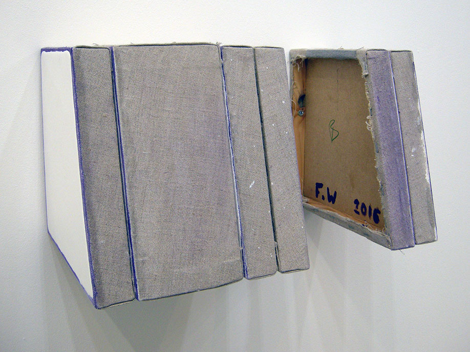 <b>Title:&nbsp;</b>Untitled (Template)<br /><b>Year:&nbsp;</b>2016<br /><b>Medium:&nbsp;</b>Enamel, cobalt violet oil, linen, wood and staples<br /><b>Size:&nbsp;</b>21 x 39 x 22 cm