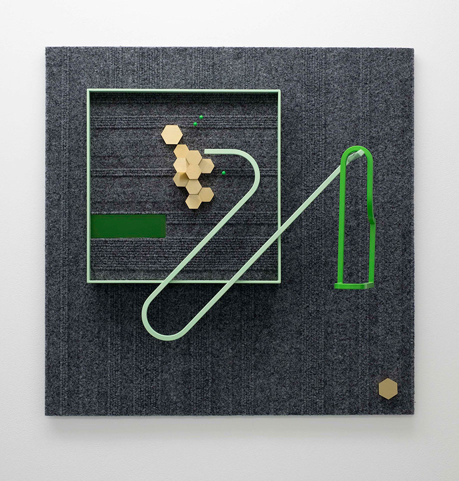 <b>Title:&nbsp;</b>Outbox<br /><b>Year:&nbsp;</b>2015<br /><b>Medium:&nbsp;</b>Carpet, powder coated aluminium, anodised aluminium, brass, map pins, Dibond, and Foamex<br /><b>Size:&nbsp;</b>50 x 50 x 16 cm