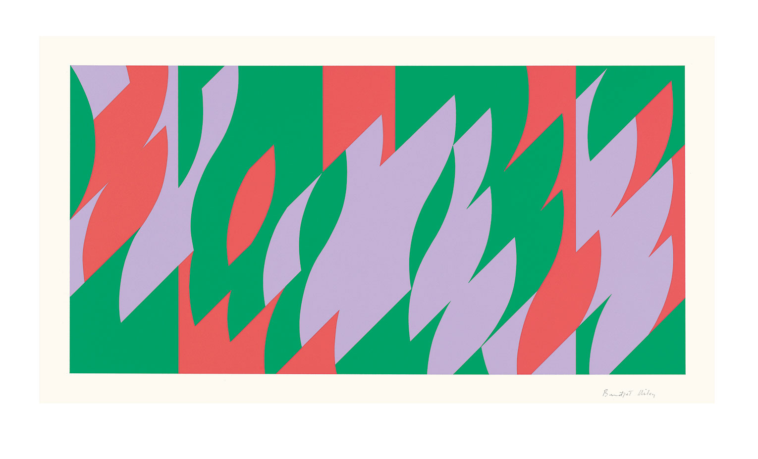 <b>Title:&nbsp;</b>About Lilac<br /><b>Year:&nbsp;</b>2007<br /><b>Medium:&nbsp;</b>Screenprint<br /><b>Size:&nbsp;</b>32.4 x 64.7 cm (image) | 48.9 x 80 cm (sheet) <br> © Bridget Riley 2016. All rights reserved, courtesy Karsten Schubert, London