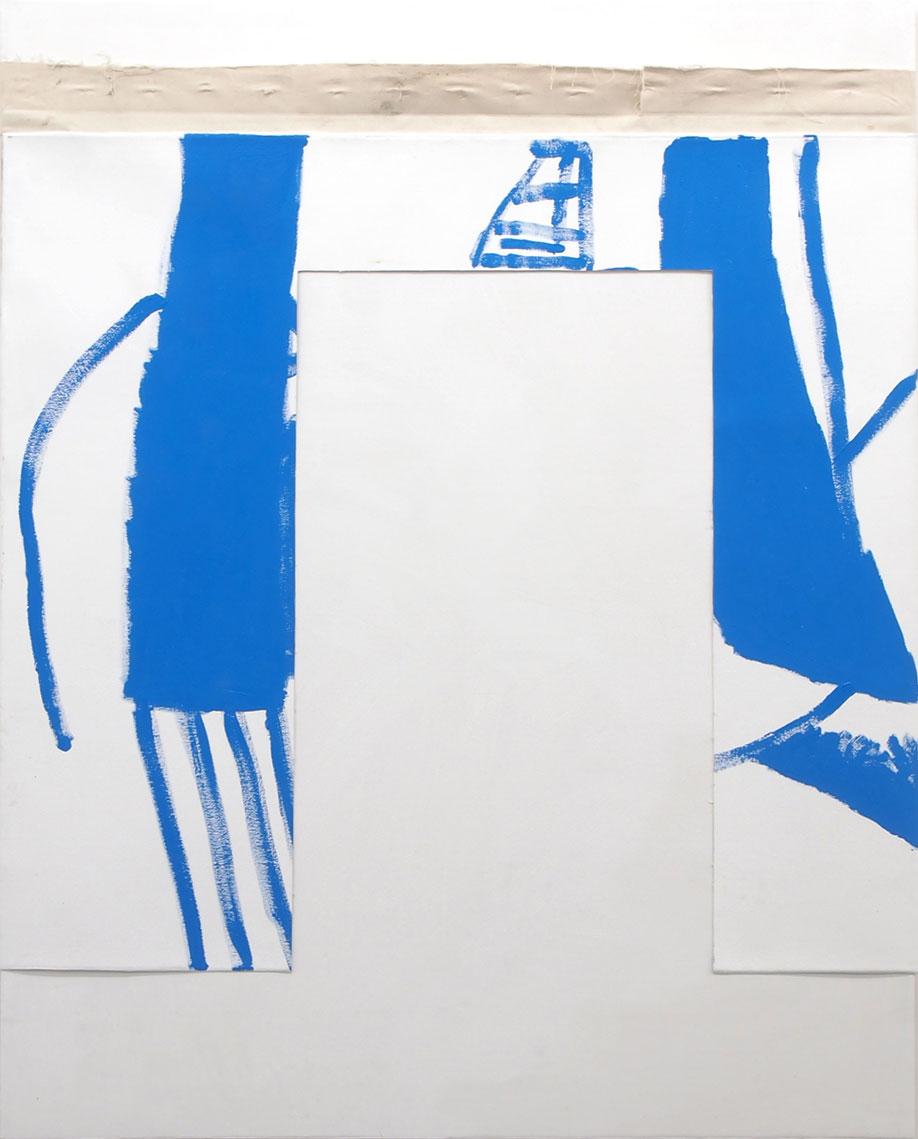 <b>Title:</b>Defenestration (for HM)<br /><b>Year:</b>2017<br /><b>Medium:</b>Acrylic on collaged canvas<br /><b>Size:</b>122 x 112 cm