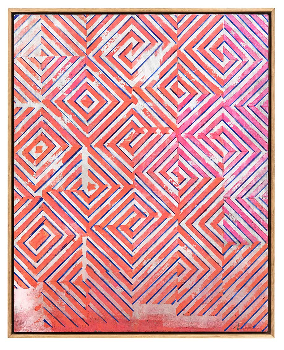 <b>Title:&nbsp;</b>FOUR STRING GLITCHED<br /><b>Year:&nbsp;</b>2018<br /><b>Medium:&nbsp;</b>Ink and spray paint on plywood<br /><b>Size:&nbsp;</b>50 x 40 cm