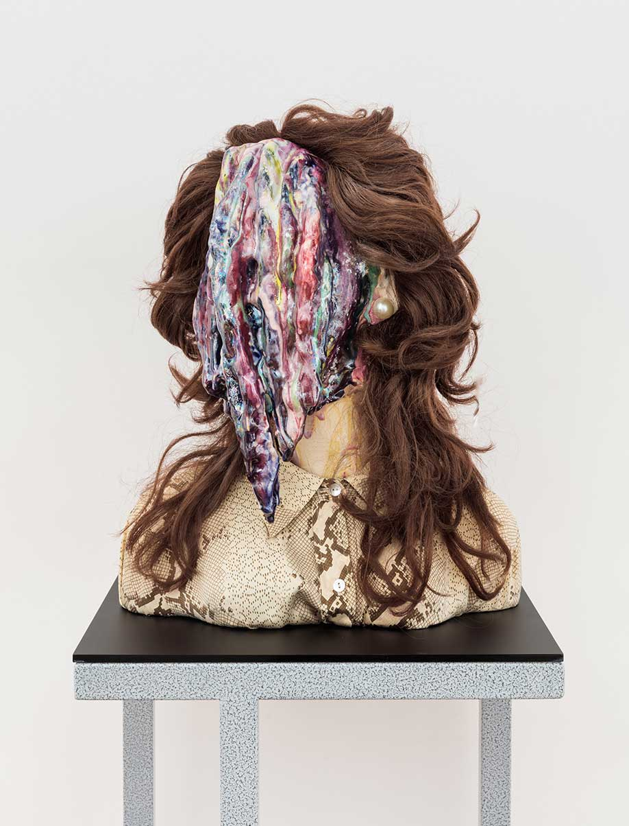 <b>Title:&nbsp;</b>Once More With Feeling<br /><b>Year:&nbsp;</b>2018<br /><b>Medium:&nbsp;</b>Ceramic, glaze, wig, pearl earrings, snakeskin shirt<br /><b>Size:&nbsp;</b>15 x 18 x 10 inches