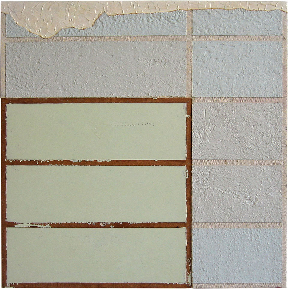 <b>Title:&nbsp;</b>Thursday 7:30<br /><b>Year:&nbsp;</b>2001<br /><b>Medium:&nbsp;</b>CK_M_1805 Thursday 7:30, 2001 Household enamel paint, sand, wallboard compound, gypsum wallboard, steel corner bead, wood frame<br /><b>Size:&nbsp;</b>90 x 90 cm