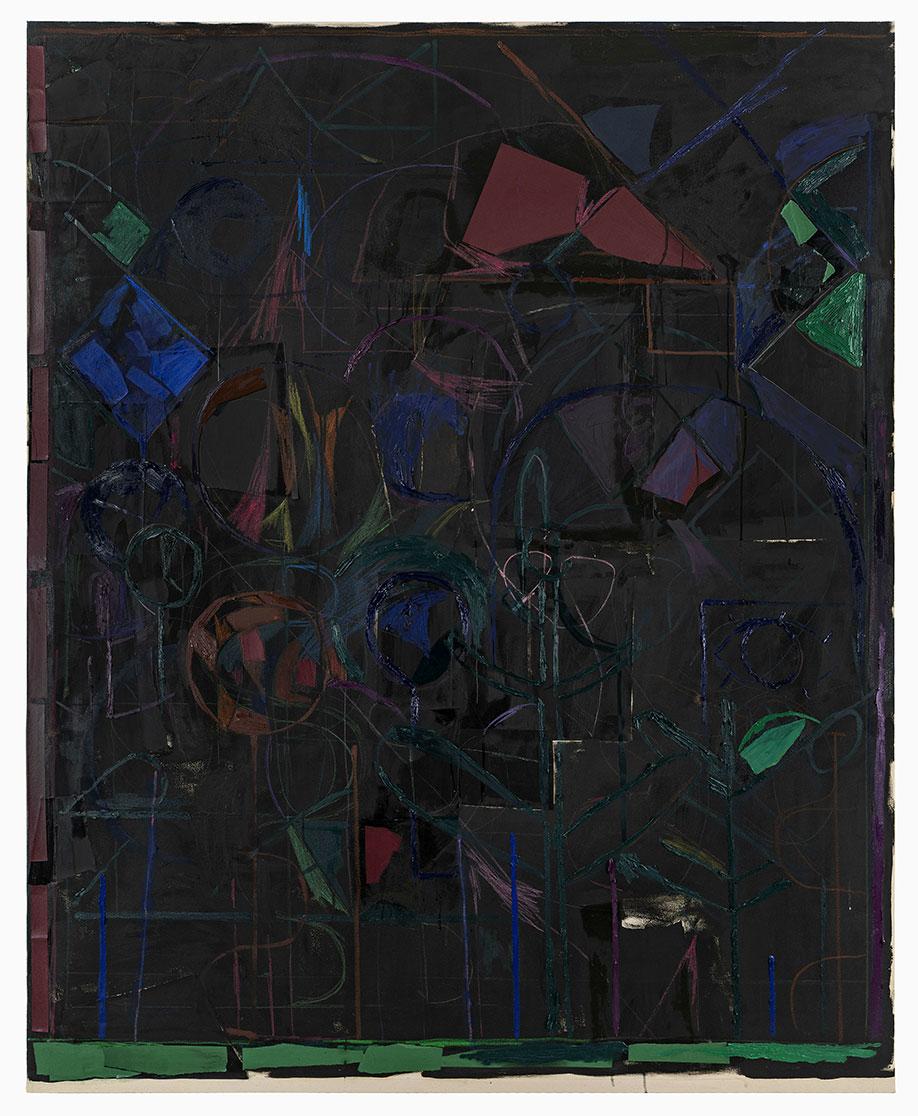 <b>Title:</b>Garden (Black)<br /><b>Year:</b>2018<br /><b>Medium:</b>Oil paint, oil stick, wax crayon and paper collage on canvas<br /><b>Size:</b>210 x 340 cm