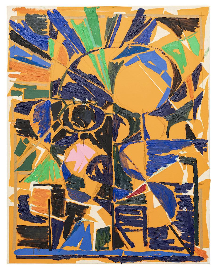 <b>Title:</b>Head (Orange)<br /><b>Year:</b>2018<br /><b>Medium:</b>Oil paint and paper collage on canvas<br /><b>Size:</b>71 x 56 cm