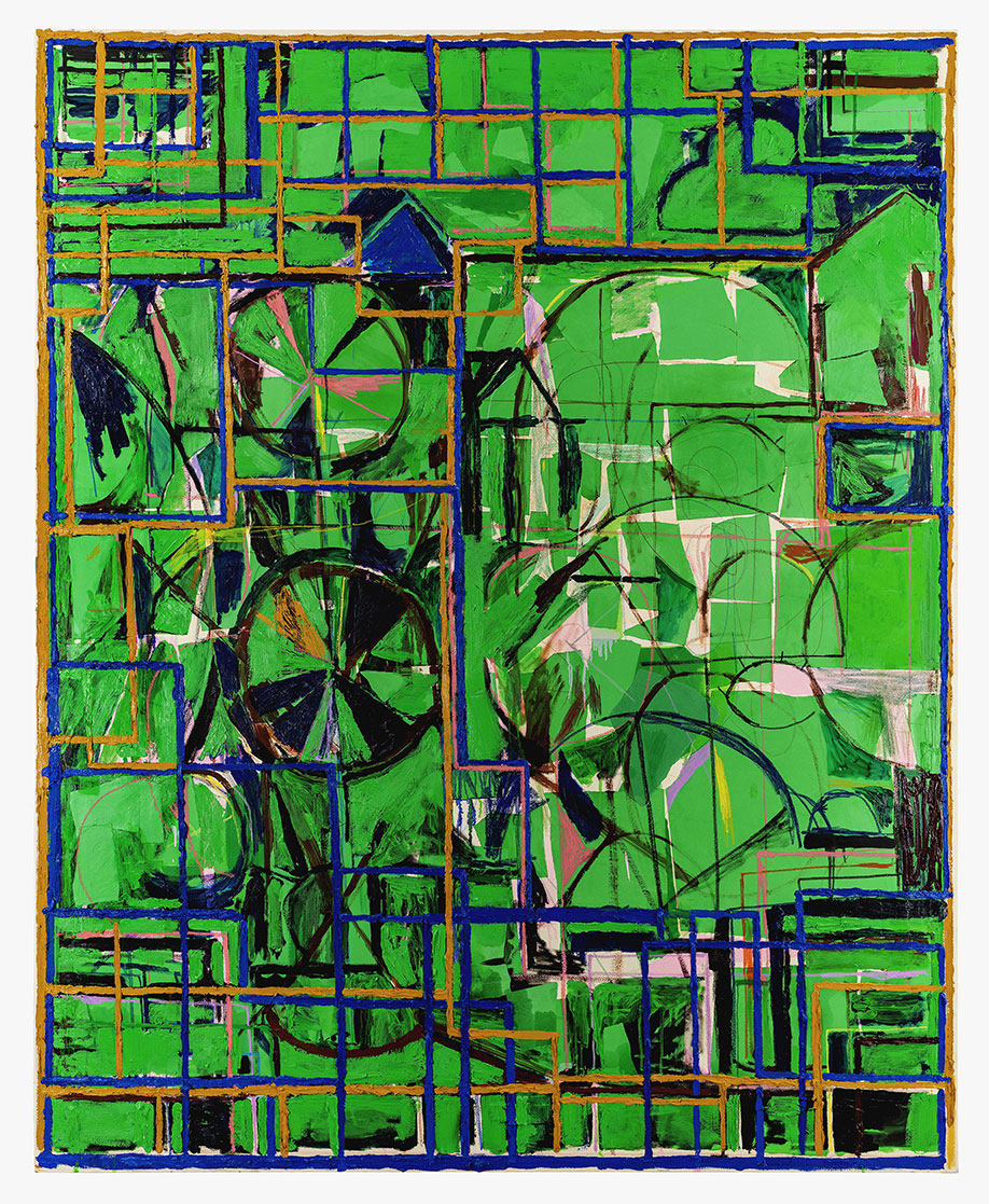 <b>Title:</b>Landscape With Double Portrait (Green) <br /><b>Year:</b>2018<br /><b>Medium:</b>Oil Paint, oil stick, oil pastel, wax crayon and paper on canvas<br /><b>Size:</b>210 x 170 cm