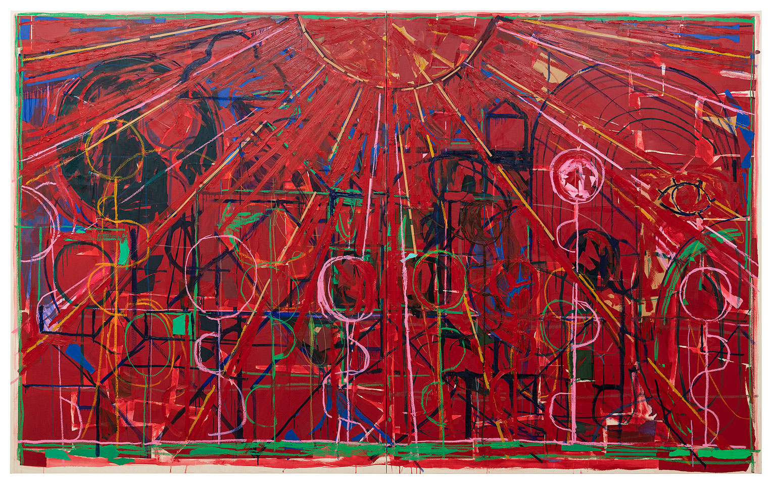 <b>Title:</b>Large Sun (Red)<br /><b>Year:</b>2018<br /><b>Medium:</b>Oil paint, oil stick, crayon, acrylic and paper collage on canvas<br /><b>Size:</b>210 x 340 cm