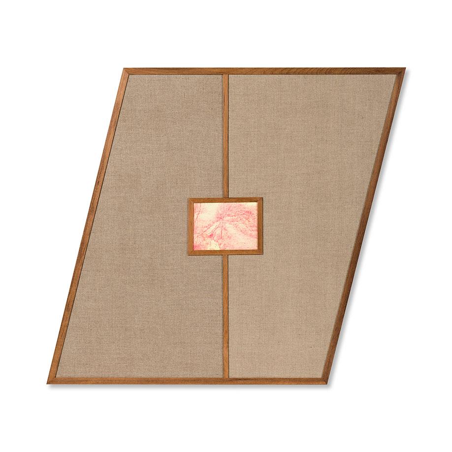 <b>Title:&nbsp;</b>The Still point<br /><b>Year:&nbsp;</b>2017<br /><b>Medium:&nbsp;</b>Oil paint, birch plywood panel, linen, teak<br /><b>Size:&nbsp;</b>84.5 x 94.5 x 1.8cm