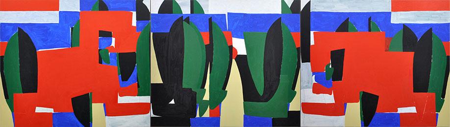 <b>Title:</b>Double Dragon<br /><b>Year:</b>2018<br /><b>Medium:</b>Oil and acrylic on canvas<br /><b>Size:</b>Triptych 160 x 570 cm (each panel 160 x 190 cm)