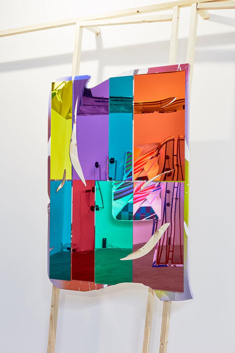 <b>Title:&nbsp;</b>High All the Time 04<br /><b>Year:&nbsp;</b>2018<br /><b>Medium:&nbsp;</b>Laser cut mirror perspex, acrylic, canvas, wood<br /><b>Size:&nbsp;</b>130 x 90 cm