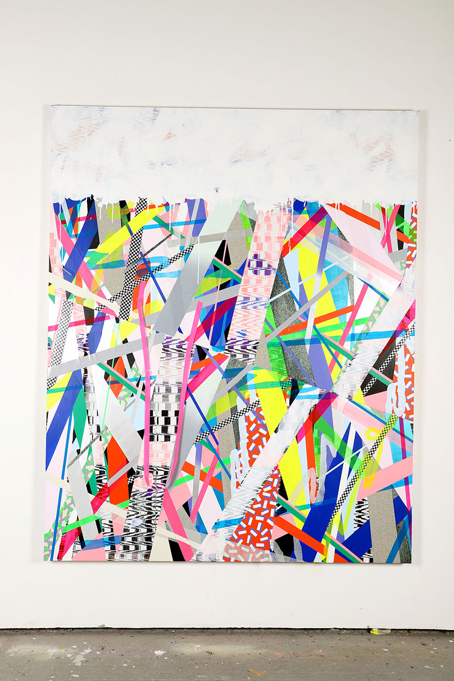 <b>Title:&nbsp;</b>Fahren<br /><b>Year:&nbsp;</b>2018<br /><b>Medium:&nbsp;</b>Mixed media on canvas<br /><b>Size:&nbsp;</b>210 x 170 x 3.5 cm