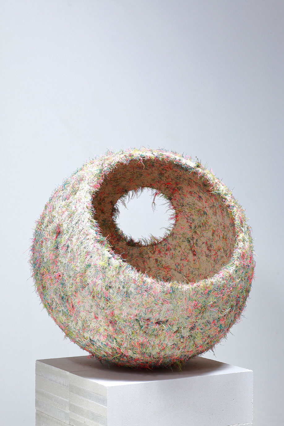 <b>Title: </b>Buoy<br /><b>Year: </b>2018<br /><b>Medium: </b>Water carved plaster and thread<br /><b>Size: </b>500 mm diameter