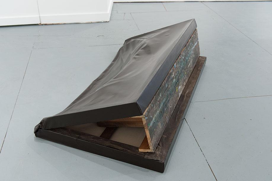 <b>Title:</b>Debris<br /><b>Year:</b>2012<br /><b>Medium:</b>Canvas and bench<br /><b>Size:</b>45 x 84 x 155 cm