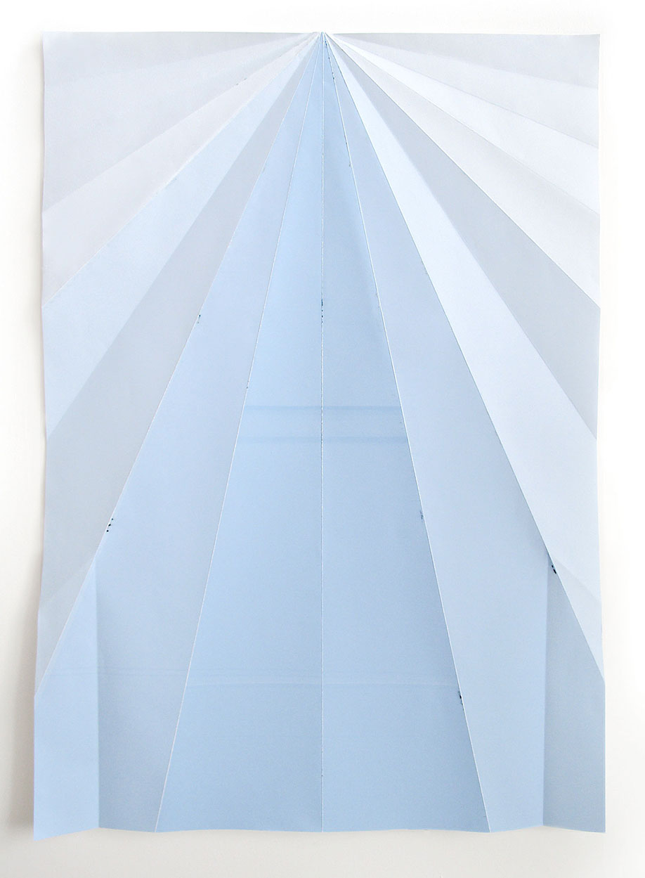<b>Title: </b>Blue Paperplane<br /><b>Year: </b>2012<br /><b>Medium: </b>Unique inkjet print on folded paper<br /><b>Size: </b>146 x 105 cm
