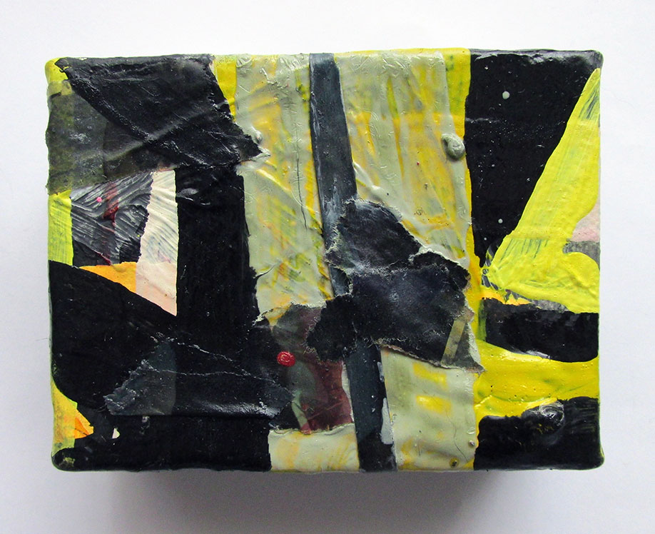 <b>Title: </b>Phrased<br /><b>Year: </b>2014<br /><b>Medium: </b>Oil, acrylic, and collage on canvas<br /><b>Size: </b>5 x 10 cm