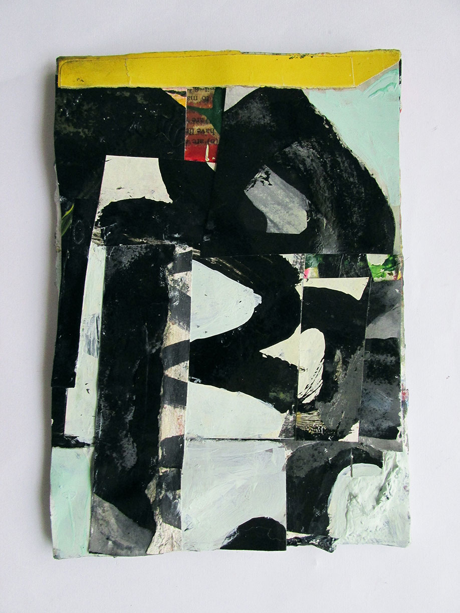 <b>Title: </b>Untitled<br /><b>Year: </b>2014<br /><b>Medium: </b>Household paints, gouache, and collage on canvas on board<br /><b>Size: </b>18 x 13 cm