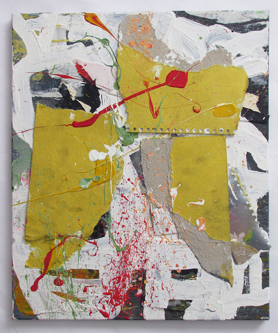 <b>Title: </b>Untitled<br /><b>Year: </b>2013<br /><b>Medium: </b>Collage, oil, and acrylic on canvas<br /><b>Size: </b>50 x 60 cm