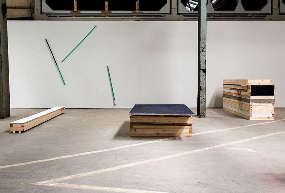 <b>Title:</b>Installation View (left to right) Sleeper I, Chamber (Phthalo Blue Painting), Dispenser<br /><b>Year:</b>2013<br />