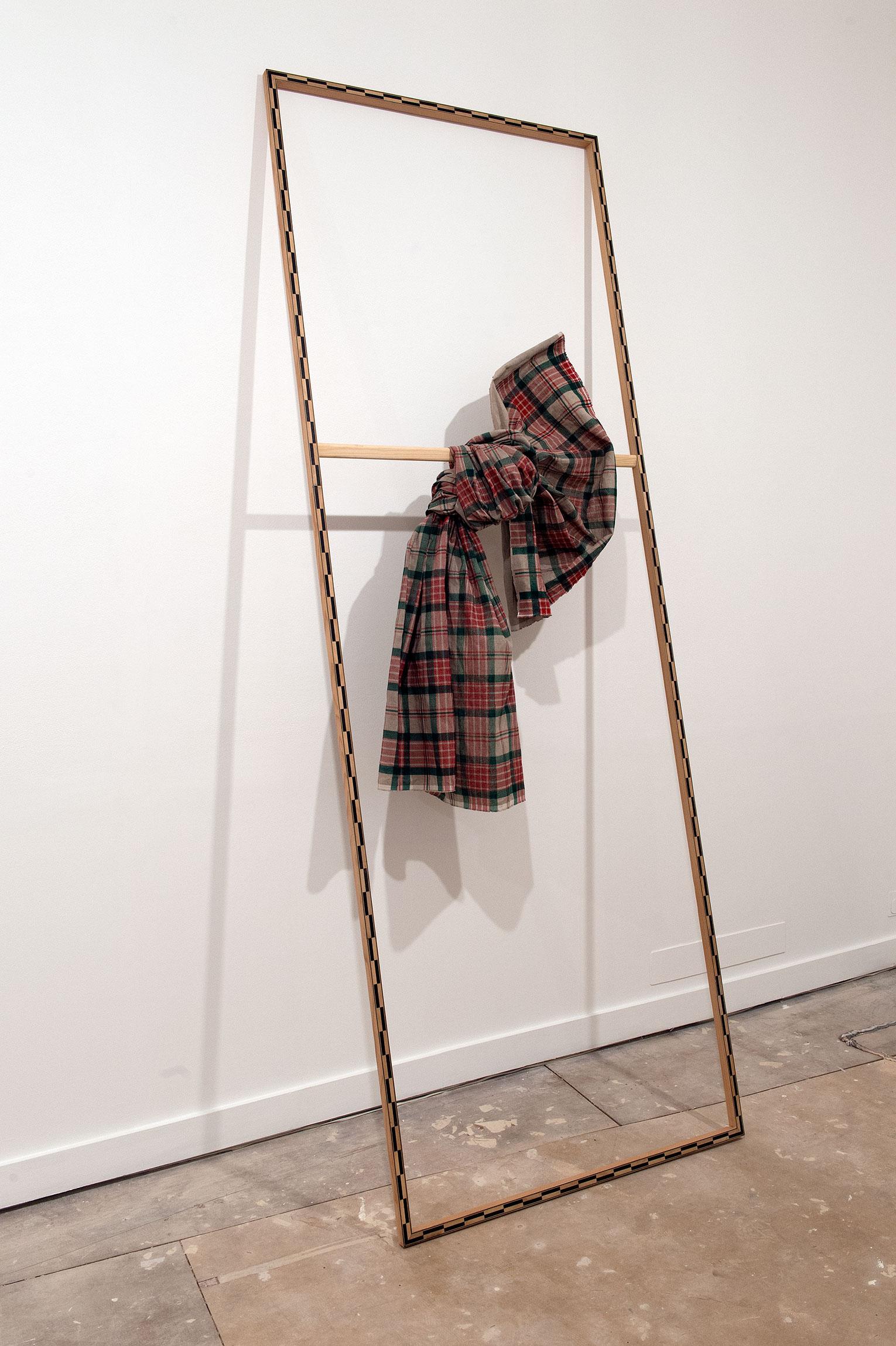 <b>Title:</b>Frasier<br /><b>Year:</b>2013<br /><b>Medium:</b>Ebony, Boxwood, Douglas Fir, linen, silkscreen print<br /><b>Size:</b>263 x 95 x 80 cm